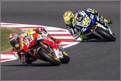 Márquez and Valentino Rossi at the 2013 British Grand Prix.