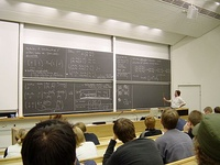 A mathematics lecture, apparently about linear algebra, at Helsinki University of Technology, Finland.
