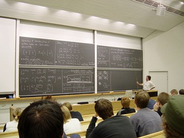 Students attend a lecture at a tertiary institution: Helsinki University of Technology