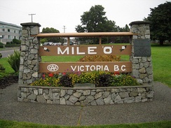 The beginning of Hwy 1 at the Mile Zero monument in Victoria