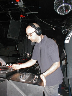Moby performs a DJ set at NASA Rewind March 4, 2004, in New York City