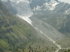 Lateral moraines of a retreating glacier in Engadin
