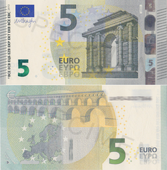 The new banknotes were introduced in the beginning of 2013. The top half of the image shows the front side of the 5 euro note and the bottom half shows the back side.
