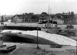 Nexø harbour in May 1945, after the Soviet air raid