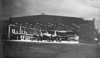 Nighttime maintenance training on a B-17 at Amarillo Army Airfield