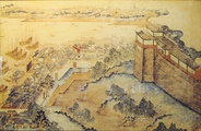 The walled Old City of Shanghai in the 17th century