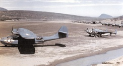 PBY-5As and PV-1s of VPB-135 on an Aleutian airfield in 1943, most likely Atka Island.