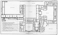 Plan of the Palais-Royal with the theatre in the east wing (Blondel, Architecture françoise, 1754)