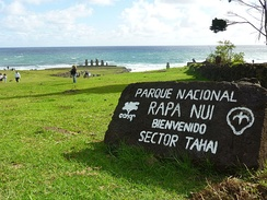 Announcement in Spanish on Easter Island, welcoming visitors to Rapa Nui National Park