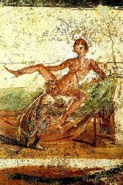 Wall painting from Pompeii depicting cunnilingus