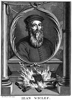 Portrait of John Wycliffe showing the burning of his works by Bernard Picart (1714)