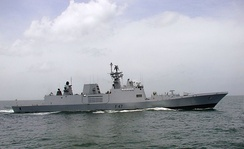The stealthy Shivalik-class frigate of the Indian Navy