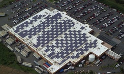 Solar modules mounted on a Walmart Supercenter in Caguas, Puerto Rico in December 2010
