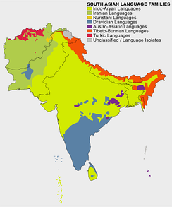 Ethno-linguistic distribution map of South Asia