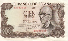 Composer Manuel de Falla as depicted on a former currency note issued in Spain in 1970