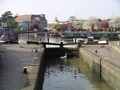 One of the two lock gates between the River Avon and the Stratford-on-Avon canal