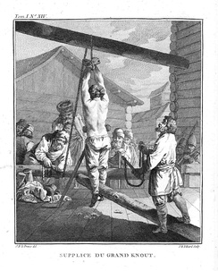 Punishment with a knout. Whipping was a common punishment for Russian serfs.[21]