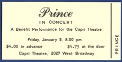 Ticket to Prince's first performance with his band in January 1979