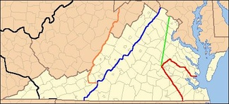 Lines show legal treaty frontiers between Virginia Colony and Indian Nations in various years, as well as today's state boundaries. Red: Treaty of 1646. Green: Treaty of Albany (1684). Blue: Treaty of Albany (1722). Orange: Proclamation of 1763. Black: Treaty of Camp Charlotte (1774). Area west of this line in present-day Southwest Virginia was ceded by the Cherokee in 1775.