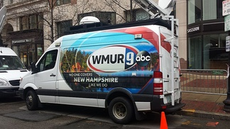 The mobile WMUR News vehicle at the 2015 Boston Marathon