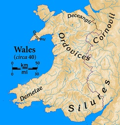 Tribes of Wales at the time of the Roman invasion and showing the modern Wales-England border