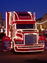 A Freightliner Coca-Cola Christmas truck in Dresden, Germany, 2004