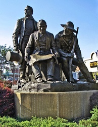 Kansas City Pioneer Square monument in Westport features Pony Express founder Alexander Majors, Westport/Kansas City founder John Calvin McCoy, and Mountain-man Jim Bridger who owned Chouteau's Store.
