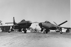 On the left is Republic XF-91 (serial number 46-680) after the nose radome installation and on the right is XF-91 (serial 46-681) after the V-tail modification.