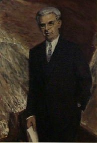 The official portrait of Arthur J. Goldberg hangs in the Department of Labor