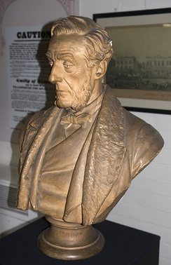 Bust of Anthony Ashley-Cooper, by F. Winter, 1886. In the collection of Dorset County museum, Dorchester