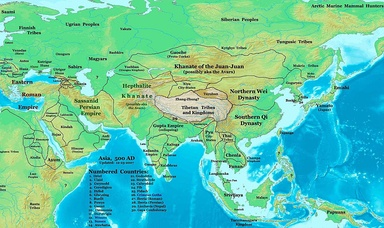 Asia in 500, showing the Rouran Khaganate and its neighbors, including the Northern Wei and the Tuyuhun Khanate, all of them were established by Proto-Mongols