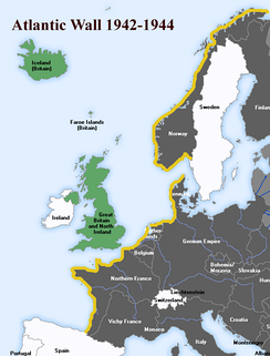 Map of the Atlantic Wall, shown in yellow  Axis and occupied countries  Allies and occupied countries  Neutral countries