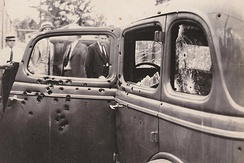 1934 Ford in which Bonnie and Clyde were ambushed and killed.