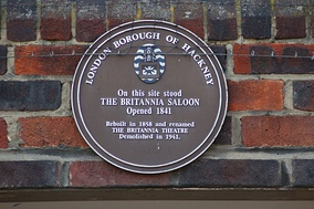 LBH plaque commemorating the Britannia Theatre, now attached to modern flats