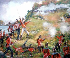 General Brock leading the charge. Brock was later killed in action, leading the right flank towards the top of Queenston Heights