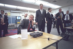 President George W. Bush gets a briefing on the attacks.