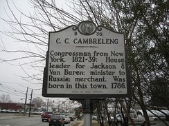 Historical marker designating the birth city of Cambreleng
