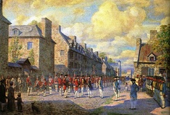 French authorities surrendering Montreal to British forces in 1760.