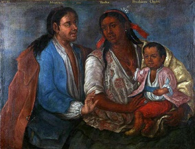 Mestizo + India = Cholo. Casta painting from colonial Peru, 1770.
