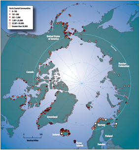 Circumpolar coastal human population distribution c. 2009 (includes indigenous and non-indigenous).
