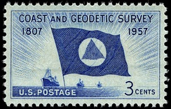 150th anniversary commemorative stamp, issued by the United States Post Office Department in 1957.