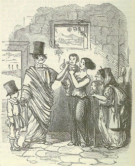 In a cartoon by John Leech, from: The Comic History of Rome by Gilbert Abbott à Beckett, a top hat is placed in a deliberate anachronism on the head of the Ancient Roman reformer Tiberius Gracchus, in order to compare him to 19th Century British politicians.
