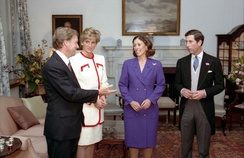 Charles and Diana with the US Vice President Dan Quayle and his wife Marilyn following the enthronement of Emperor Akihito, 1990