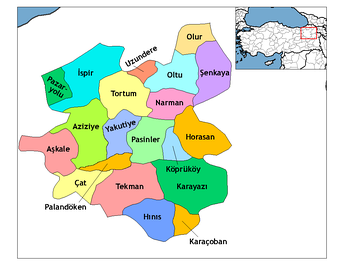 Map showing districts of Erzurum Province.