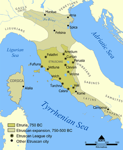 Etruscan civilization in north of Italy, 800 BC.