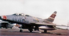 North American F-100F-10-NA Super Sabre, AF Ser. No. 56-3869, of the 354th Tactical Fighter Wing, deployed to McCoy AFB, FL. The aircraft is marked as the Wing Commander's aircraft.