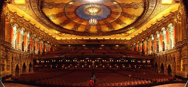 Auditorium of the Fox Theatre. The theatre is the largest surviving movie palace of the 1920s and the largest of the original Fox Theatres in the US.