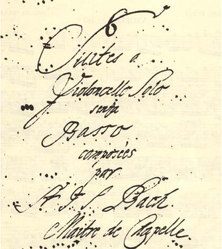 Title page of Anna Magdalena Bach's copy of the cello suites – Cello Suite No. 1 BWV 1007 performed by John Michel:  1. Prelude •  2. Allemande •  3. Courante •  4. Sarabande •  5. Minuets •  6. Gigue