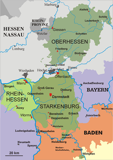 The three provinces of the Grand Duchy of Hesse: Upper Hesse, Starkenburg, and Rhenish Hesse