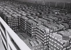 This is what a IBM card storage warehouse located in Alexandria, Virginia in 1959. This is where the government kept storage of punched cards.